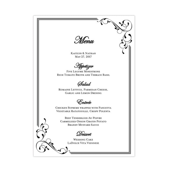 Wedding Reception Menu Template Elegance Black White 5x7 Printable DIY