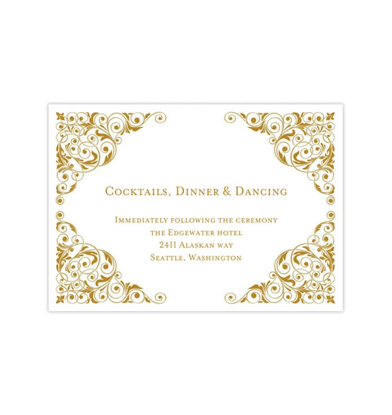 Wedding Reception Invitation Isabella Gold Printable Templates