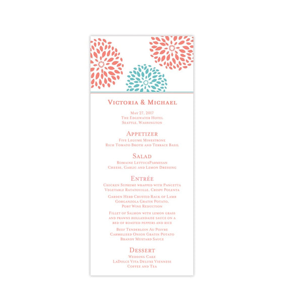 Wedding Menu Card Floral Petals Coral Turquoise Tea Length Printable Templates