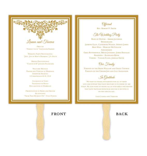 Wedding Program Fan Anna Maria Gold Printable DIY Templates