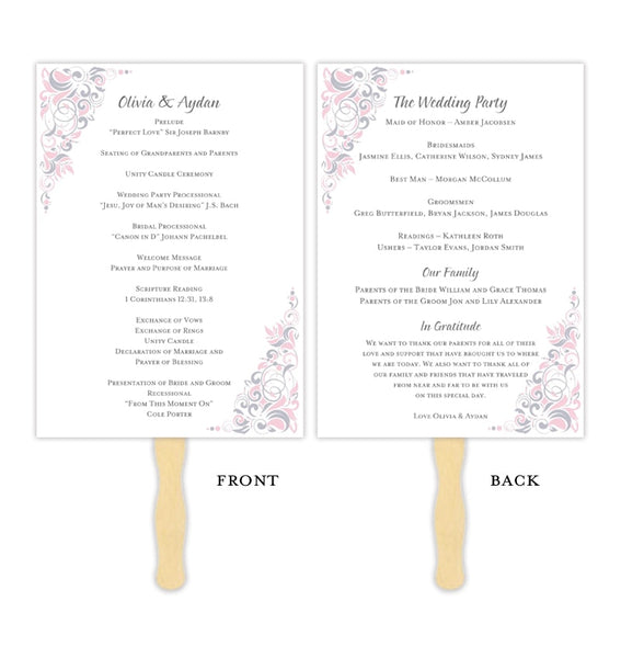 Wedding Program Fan Gianna Pink Silver Printable DIY Template
