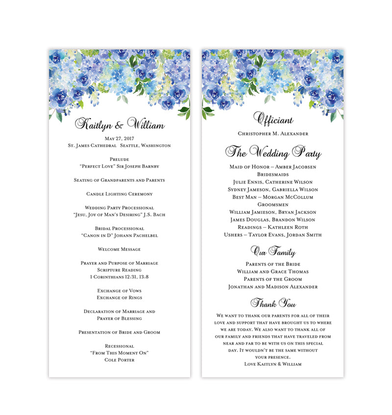 photo regarding Printable Wedding Programs titled Slender Wedding day Software Amelia Blue Roses Hydrangea