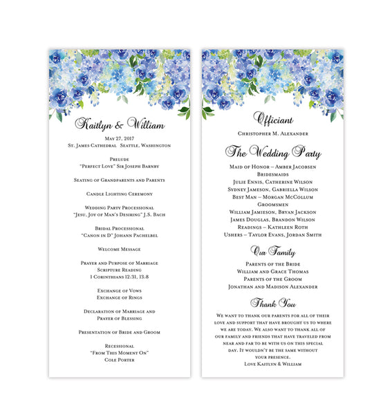 Slim Wedding Program Amelia Blue Roses & Hydrangea Printable DIY