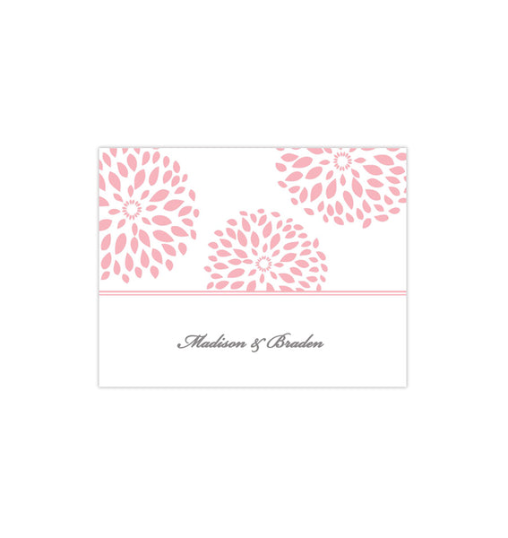 Wedding Thank You Card Floral Petals Blush Pink Printable DIY Template