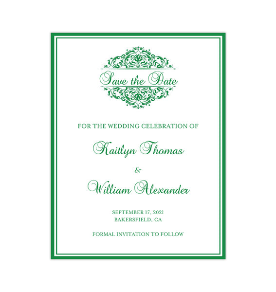 Wedding Save the Date Cards Grace Emerald Green Printable DIY