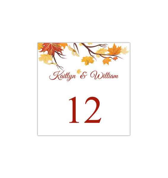 Printable Table Number Template Falling Leaves Tent DIY Wedding Templates