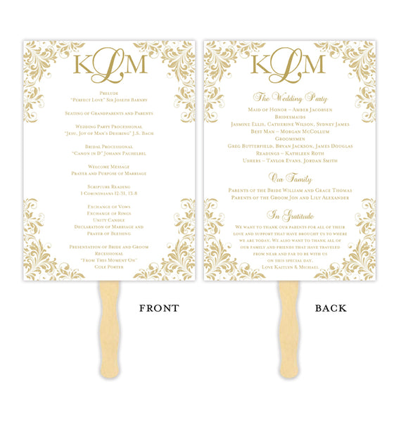 Wedding Program Fan Kaitlyn Champagne Gold Monogram Printable DIY Templates