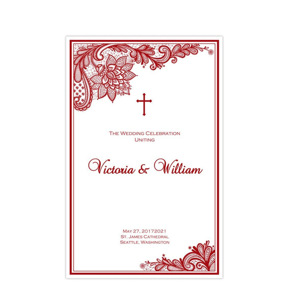 Catholic Church Wedding Program Vintage Lace Red Printable DIY