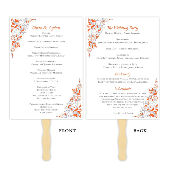 Wedding Program Fan Gianna Tangerine Orange Silver Printable DIY Template