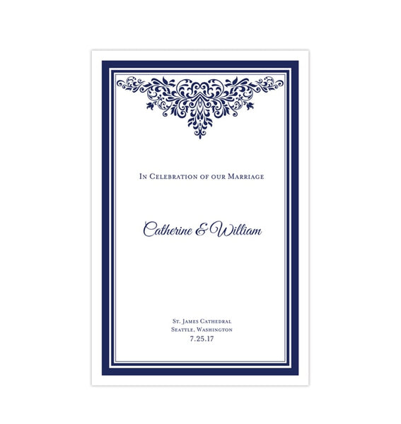 Wedding Program Template Anna Maria Navy Blue Printable DIY