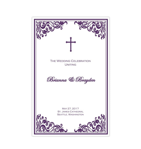 Catholic Church Wedding Program Faith Purple Printable DIY