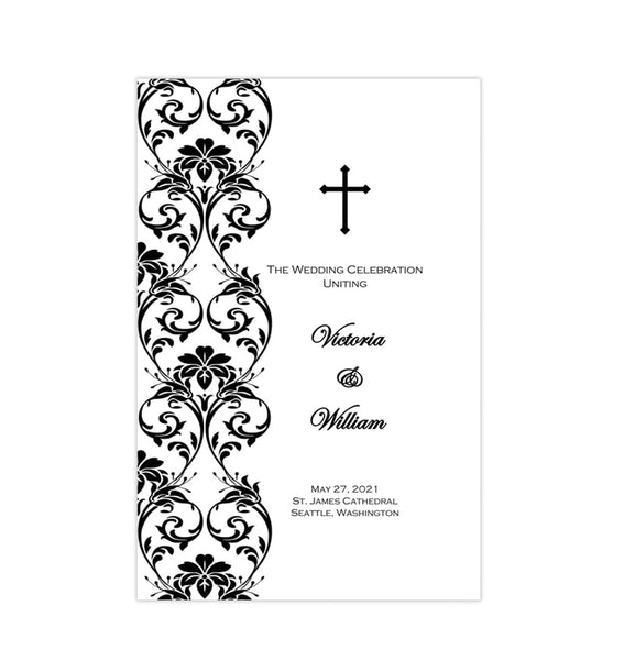 Catholic Church Wedding Program Damask Black White Printable DIY
