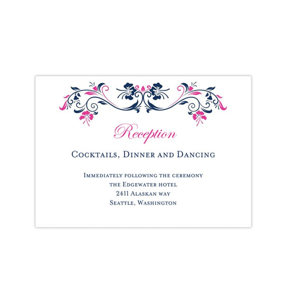 Wedding Reception Invitations Annabelle Navy Blue Hot Fuchsia Pink Printable Templates