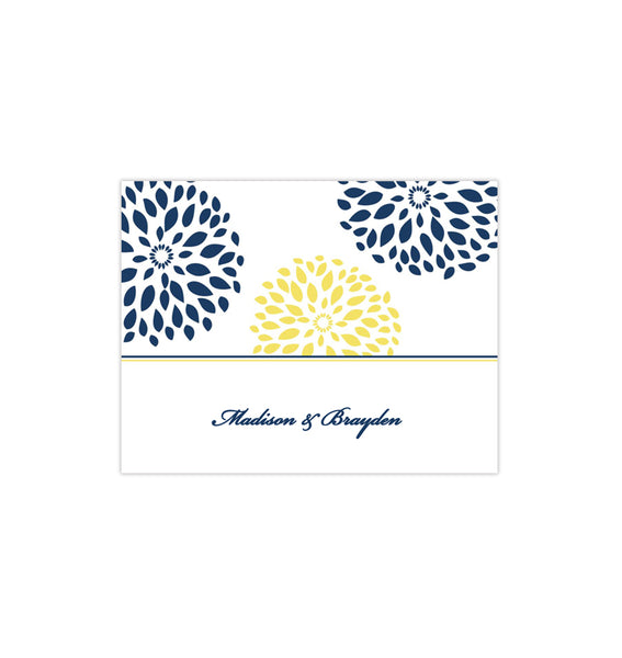 Wedding Thank You Card Floral Petals Navy Yellow Printable DIY Template