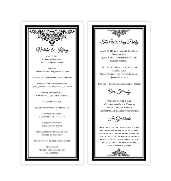 Slim Wedding Program Anna Maria Black Printable DIY