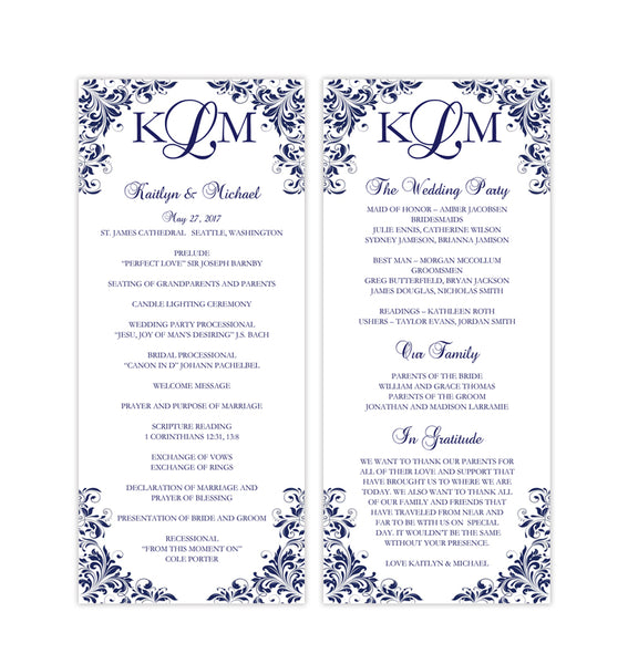 Slim Wedding Program Kaitlyn Navy Blue Printable DIY Templates