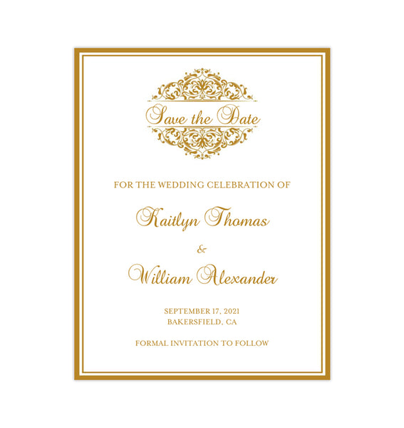 Wedding Save the Date Cards Grace Gold Printable DIY
