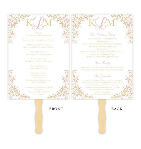 Wedding Program Fan Kaitlyn Blush Pink Champagne Monogram Printable DIY Templates
