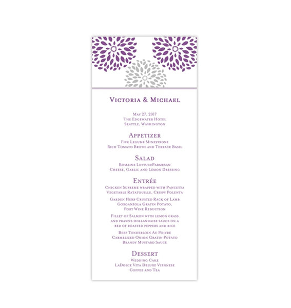 Wedding Menu Card Floral Petals Purple Silver Gray Tea Length Printable Template