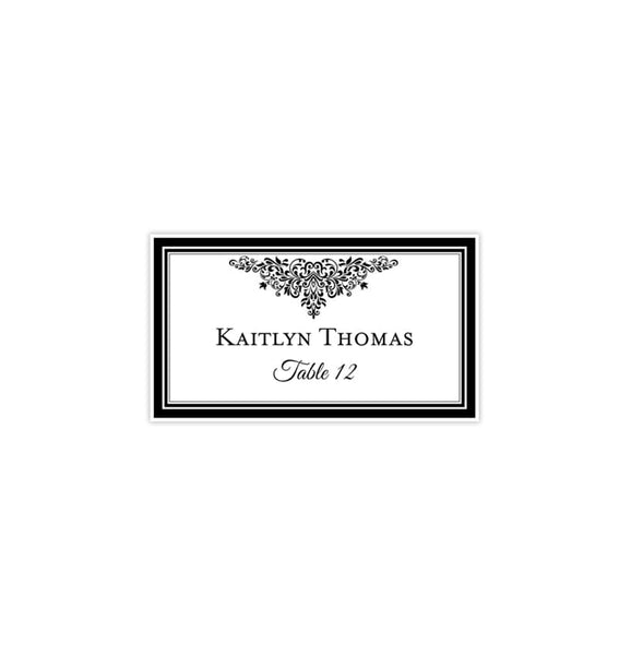 Wedding Seating Card Black White Tent Card Printable DIY Templates