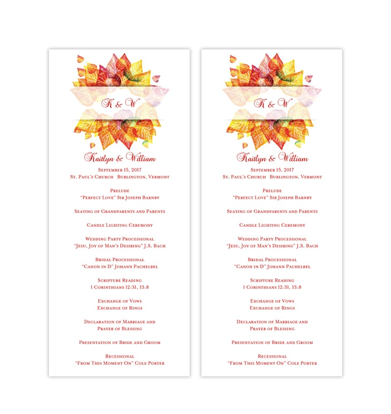 Wedding Ceremony Programs.Slim Wedding Ceremony Program Fall Leaves Autumn Colors
