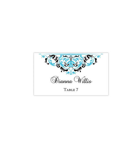 Printable Wedding Place Cards Grace Malibu Blue Black Flat Printable DIY Templates