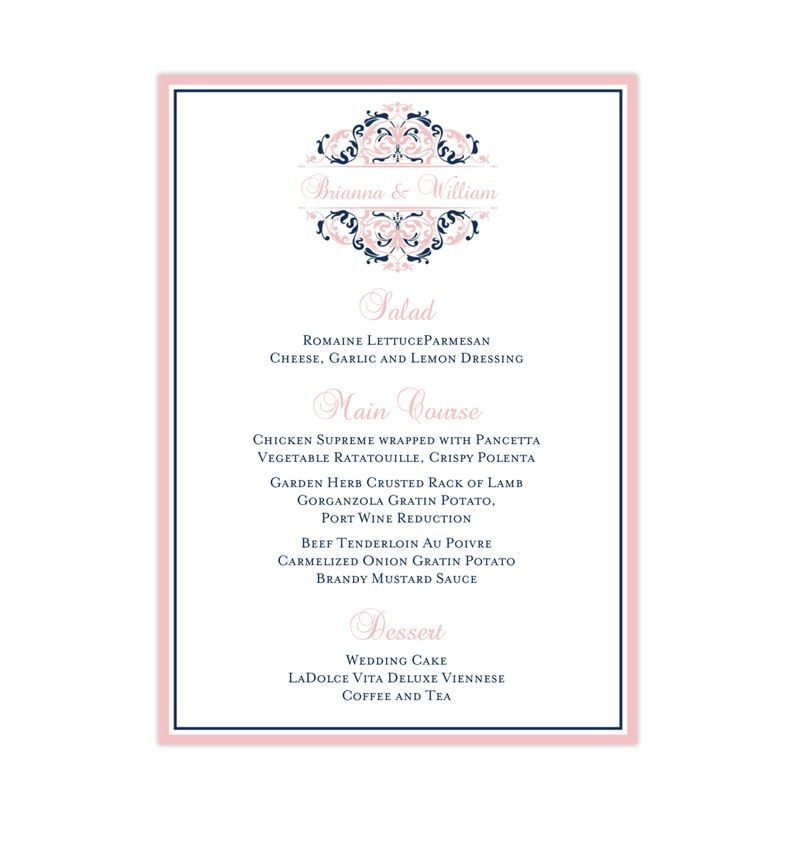 wedding reception menu template grace blush pink navy blue. Black Bedroom Furniture Sets. Home Design Ideas