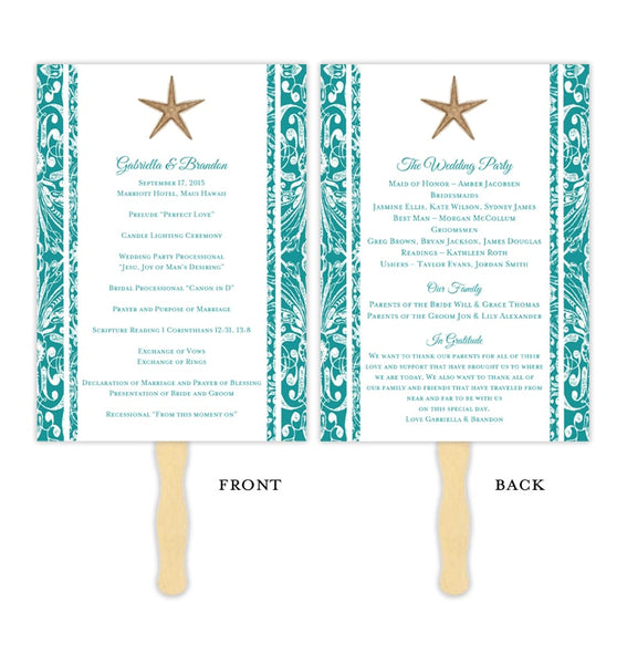 Wedding Program Fan Beach Starfish Jade Printable DIY Templates