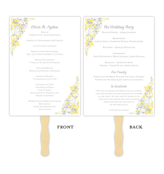 Wedding Program Fan Gianna Yellow Silver Gray Printable DIY Template