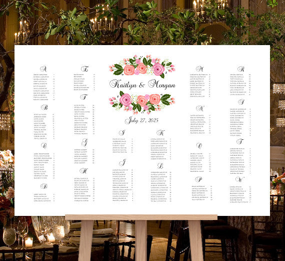 Wedding Seating Chart Poster Gabriella Blush Pink Peach Floral