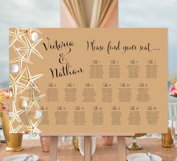 Wedding Seating Chart Poster Seashells Sand