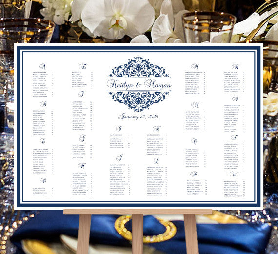 Wedding Seating Chart Poster Grace Navy Blue