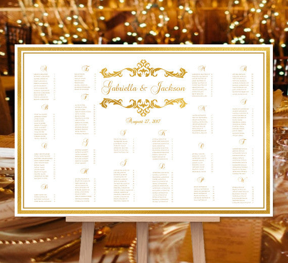 Wedding Seating Chart Poster Emma Gold