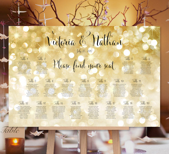 Wedding Seating Chart Poster Gold Bokeh Sparkle Gold