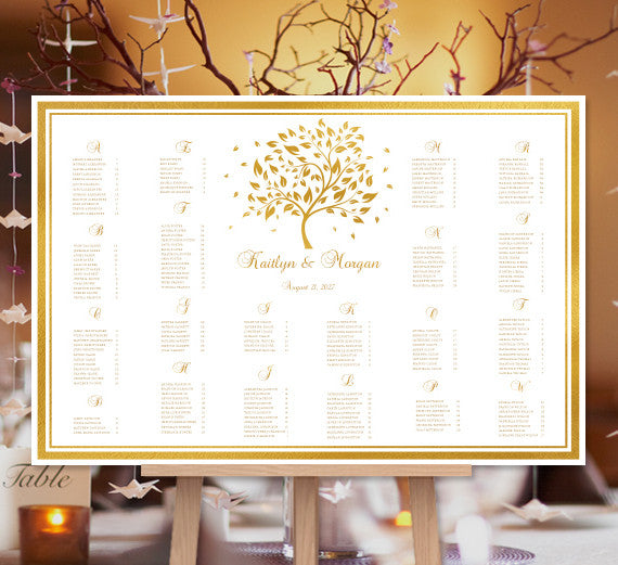 Wedding Seating Chart Poster Golden Fall Autumn Tree