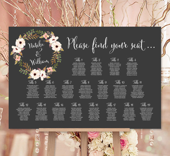 Wedding Seating Chart Poster Floral Wreath 3 Chalkboard