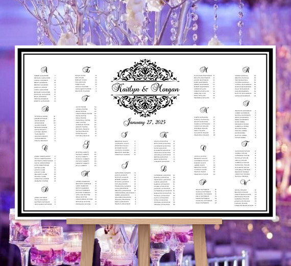 Wedding Seating Chart Poster Grace Black White