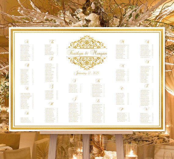 Wedding Seating Chart Poster Grace Gold Print Ready ...