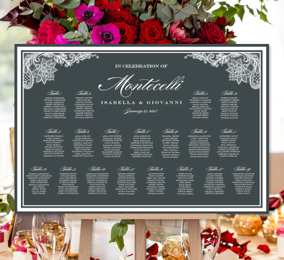Wedding Seating Chart Poster Vintage Lace Charcoal Dark Gray