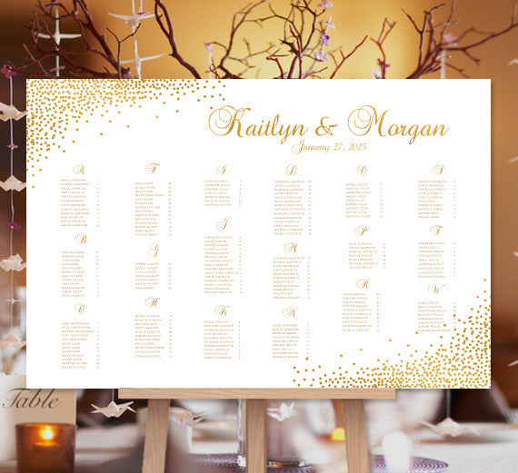 Wedding Seating Chart Poster Confetti Gold Landscape