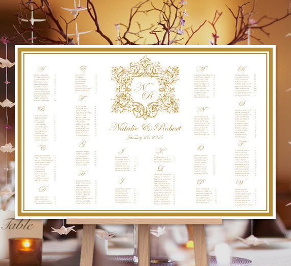 Wedding Seating Chart Poster Vienna Gold