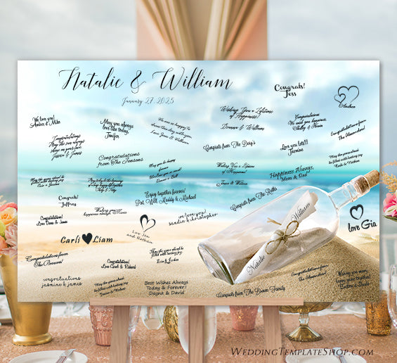 Beach Wedding Guest Book Alternative Poster Print or Canvas Message in a Bottle