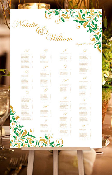 Wedding Seating Chart Poster Kaitlyn Irish Emerald Green Gold