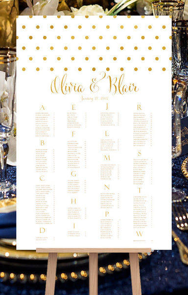 Wedding Seating Chart Poster Classic Dots Gold