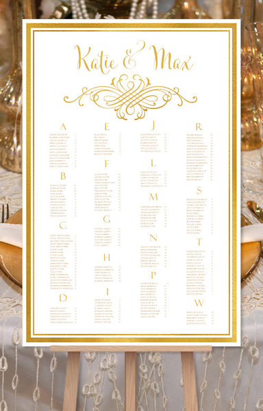 Wedding Seating Chart Poster Calligraphic Swirls 2 Gold