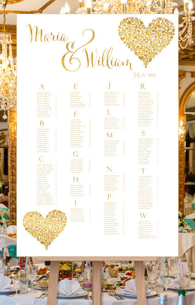 Wedding Seating Chart Poster Floral Heart Gold