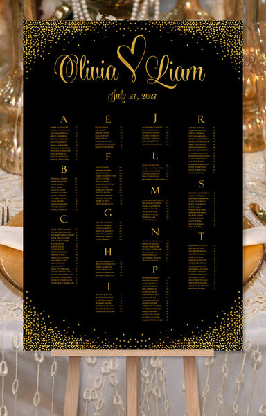 Wedding Seating Chart Poster Confetti Heart Gold Sparkles