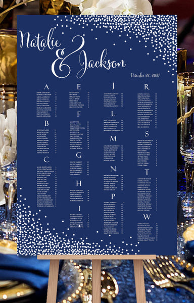 Wedding Seating Chart Poster Confetti Navy Blue White