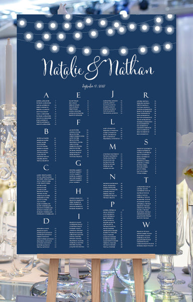 Wedding Seating Chart Poster String Lights Navy Blue