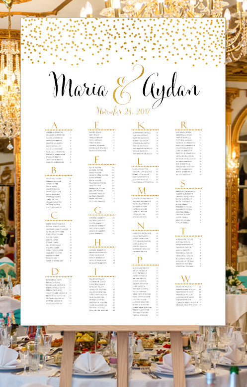 Wedding Seating Chart Poster Confetti 2 Gold Print Ready ...